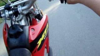 9. Helmet cam on a crf100 top speed
