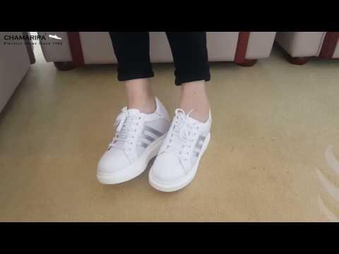 Women Hidden Height Increasing Sneaker White Heel Lift Shoes 3.15 Inches