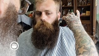 Massive, Thick Beard gets Trimmed at the Barbershop