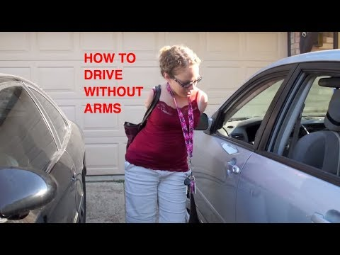 driving - Tisha UnArmed demonstrates how to drive her car with her feet, There are three main adaptations to my car 1 the left foot accelerator: this adaptation allows...