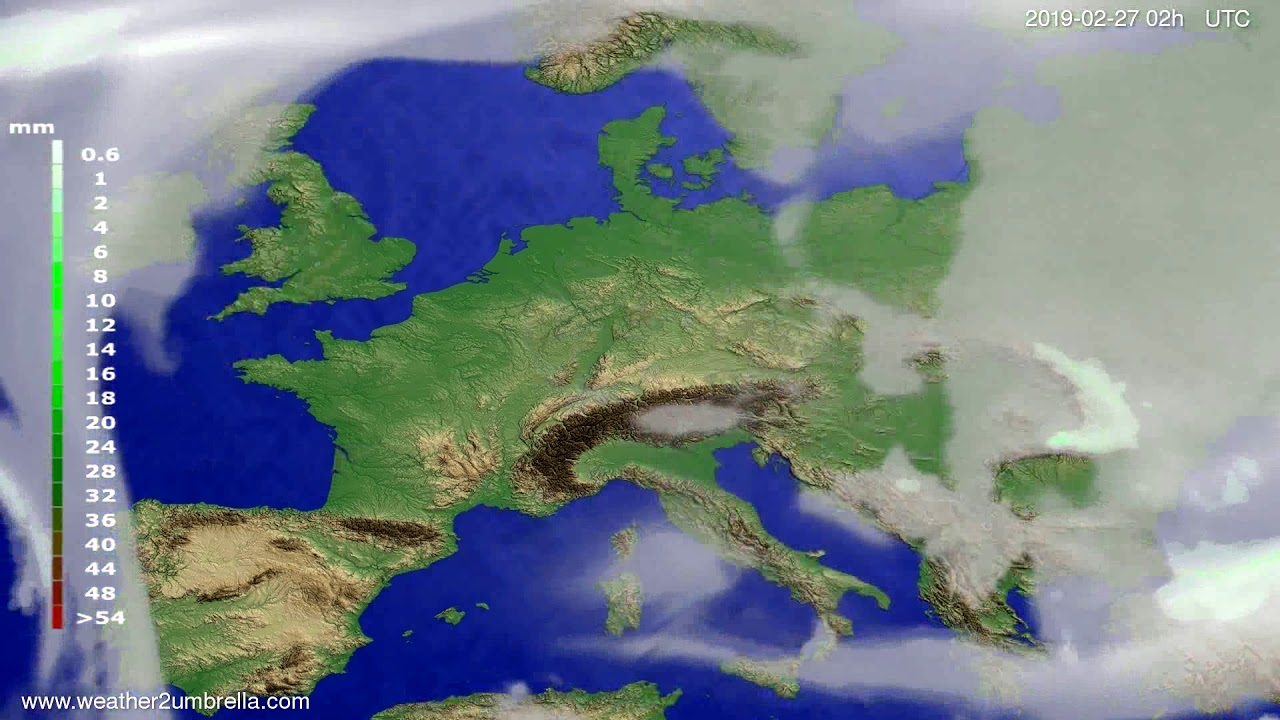#Weather_Forecast// Precipitation forecast Europe 2019-02-25