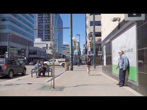 Walking in Edmonton Alberta Canada. City Life. Downtown Area Tour.
