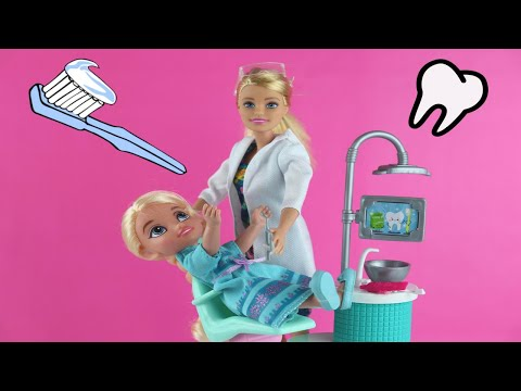 Sugar Bugs! ELSA toddler has a toothache. BARBIE is the Dentist!  ANNA plays (Toys Chest - Dolls)
