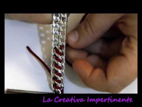 DIY - 1° Tutorial bracciale catena ed alcantara o qualsiasi altro nastro o filo ( bracelet )