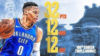 Russell Westbrook 100th Career Triple Double! 2017-18 Season