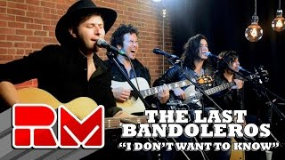 """See more of The Last Bandoleros at: http://www.realmagictv.com/music/666/The-Last-BandolerosThe Last Bandoleros """"I Don't Want To Know"""" - Live Acoustic Performance in on Real Magic TV. The band stopped by our Northeast studio while on tour. They played 4 songs in this exclusive session. The Last Bandoleros are:Jerry Fuentes - Vocals & Guitar Derek James - Vocals & GuitarDiego Navaira- Vocals & BassEmilio Navaira - Vocals & PercussionThe Last Bandoleros are on a roll. The group has sold-out New York City's Rockwood Music Hall as headliner and opened for Canadian chanteuse Feist at Webster Hall (NYC). They've performed live with Sting and also feature as backing vocalists on his new single """"I Can't Stop Thinking About You"""" currently climbing the AAA radio and iTunes rock charts. At the time of the video publishing the band was on tour with Sting. Members of the group perform with Sting nightly and have appeared on Sting's latest release """"57th and 9th""""."""