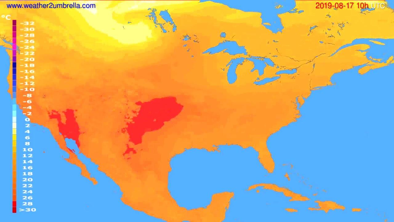 Temperature forecast USA & Canada // modelrun: 00h UTC 2019-08-15