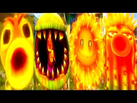 Plants vs Zombies Garden Warfare All Fire Plants: Fire Pea, Fire Chomper, Fire Flower & Fire Cactus