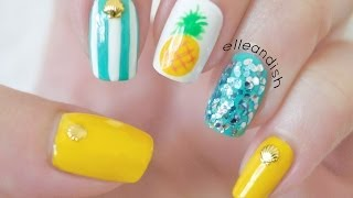 Easy Summer Pineapple Nails - YouTube