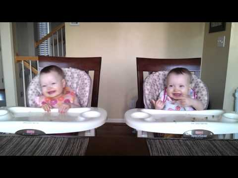 11 Month Old Twins Dancing to Daddy's Guitar and Eating Peas