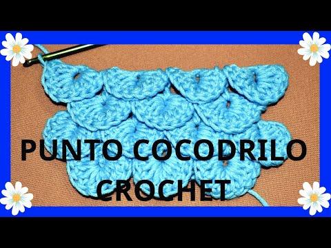 Como tejer el Punto Cocodrilo o Escama en tejido crochet tutorial paso a paso.