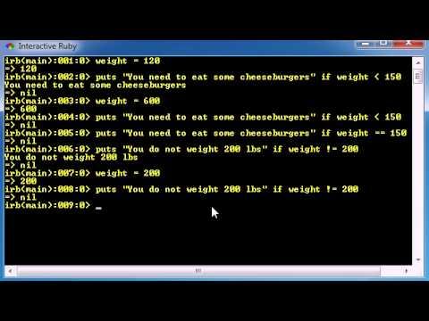 Ruby Programming Tutorial - 15 - Comparison Operators