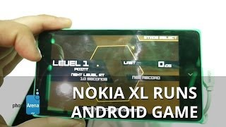 Sideloaded Android game running on the Nokia XL