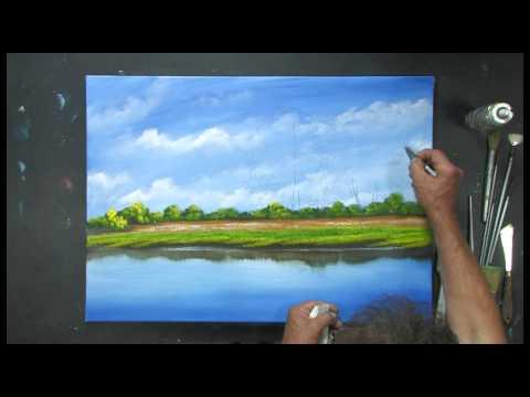 Acrylmalerei – Landschaft am Bachufer mit Dietmanns Maltechnik