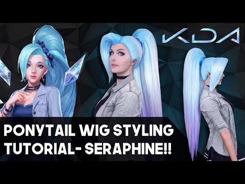 KDA Seraphine's Long Hair! Long Ponytail Cosplay Wig Tutorial