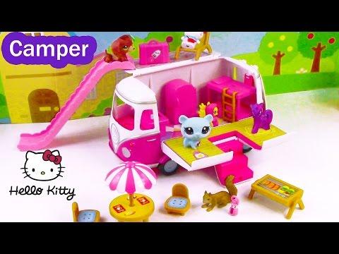 MLP LPS Hello Kitty Summer Camper RV Van Fluttershy Twilight Littlest Pet Shop Review