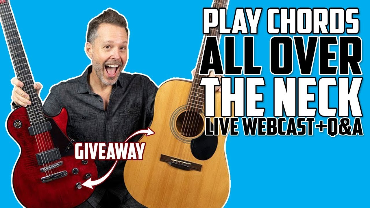 How To Play Chords ALL Over the Neck – LIVE Webcast (Dark Fire Guitar Giveaway)