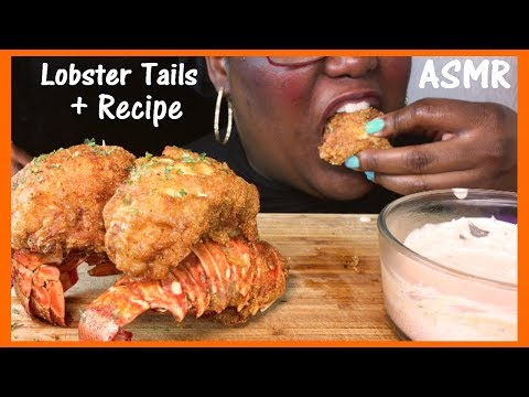 ASMR Fried Lobster Tails + Recipe And Extreme Eating Sounds 먹방