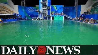 Going green: Changes in water color at water polo, diving