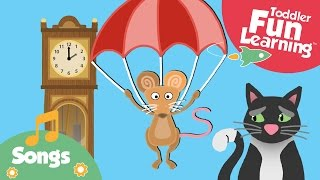 WATCH this great nursery rhyme for toddlers - Hickory Dickory Dock. Poor little mouse gets chased up the clock by 3 cats, will he escape? For more nursery rh...