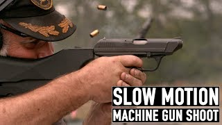 Guns.com brought a high-speed camera to the Green Mountain Boys Machine Gun Shoot in Eden, Vermont on July 14th and 15th, 2017 to capture some of the action.We filmed with a Phantom MIRO320S at 1600 frames per second. It allowed us to capture a unique perspective of some of the fascinating guns that were fired.These firearms included an extremely rare Heckler & Koch VP70 that fires three-round bursts at 2200 rounds per minute. Another highlight was the U.S. 76mm T-124 anti-tank gun that rattled your bones when fired. Your teeth chattered when the M45C Quadmount 50 cal was fired. A double-barrelled semi-automatic Arsenal Firearms AF2011-A1 was a crowd pleaser. A GAU-2B/A minigun provided it's signature 'brrrrp' sound throughout the shoot and a full-auto Saiga 12-gauge shotgun had enough recoil to knock you off your feet.A great time was had by all. The Green Mountain Boys Machine Gun Shoot is an annual event that attracts a few hundred people. It's set in the green hills of Vermont at Camp David.