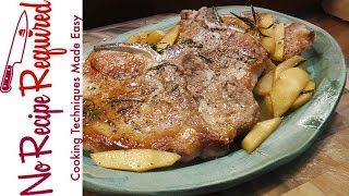 """Traditional """"baked"""" pork chops - cooked in a pan at 350 degrees for hour...usually suck. Treating pork, like a tray of cupcakes is..."""