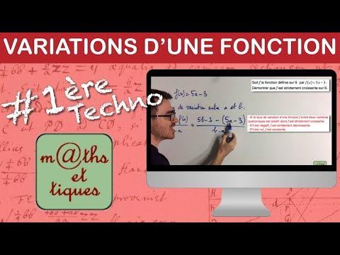 Déterminer les variations d'une fonction (taux de variation) - Première Techno