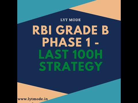 What should be the Last 100 hours strategy for RBI GRADE B Phase 1 - GA   Clear Overall Cutoff   LYT