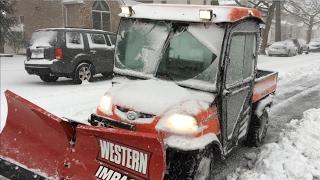 7. Kubota RTV 900 Snow Plowing with Western Impact UTV V-Plow