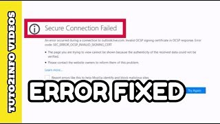 In this video of How to Fix Secure Connection Failed Error in Mozilla Firefox i will show you very easy and quick way of solving this type of error in Firefox...