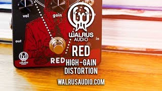"""https://www.walrusaudio.com/products/red-high-gain-distortionHonest to goodness gain and nothing but the gain. The Walrus Audio Red is a rock monster just waiting to be unleashed. Two distinct voices, 3-band EQ (great Q spots) and more gain than I could handle in one sitting will make this pedal very attractive to those who wish to get down and dirty. The official description says something about 90's metal and shoegaze tones, but I believe the Red's facilities extend far beyond those boundaries. Give it a belt but warn the neighbours. Today's tools:Guitar: 2016 Fast Guitars Roamer 7 Custom.Amp: 2016 VASE Tonesetter 18 (G12M speaker)Extra effects: Dawner Prince Boonar Multi-Head EchoCables: Goodwood Audio and ProvidencePower Supply: Voodoo Lab MONDOMic: Shure SM57 (VASE);  Samson Airline77 (me)Camera: Canon 60D (me) and Nikon D5100 (pedal)Soundcard: AVID Mbox Pro 3Computer: Apple iMac 27"""" i7 3.4 GHz 16 GB RAMSoftware: Logic Pro X, Waves L3-16 Limiter (to keep levels in check at output), Apple Final Cut Pro X (video editing and Youtube compression)."""