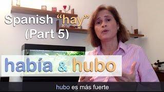 """Download FREE eBook → http://www.practiquemos.com/newsSoftware to practice (PC-Mac) → http://www.practiquemos.com/espanolFollow me:facebook → http://www.facebook.com/PRACTIQUEMOSGoogle+ → http://google.com/+PractiquemosEspanolTwitter → @practiquemosFREE SPANISH LESSONS - by Catalina Moreno EscobarLearn and practice Spanish with these free online Spanish lessons:""""haber"""" verbo impersonal para expresar """"existencia""""HOW TO USE hay/había/hubo IN SPANISHIn this video you will learn and practice the difference between """"hay/había/hubo"""".HAY - HABÍA - HUBO? (Parte 5)""""HAY"""" is the present tense.""""HABÍA"""" and """"HUBO"""" is the past tense.You use """"había"""" to talk about """"normal"""" situations in the past. It's frequently used.You use """"hubo"""" to talk about """"exceptional events"""" in the past. This form of the verb is stronger and more efantic.———————————La forma de """"había"""" es frecuentemente usada en español para hablar de situaciones """"normales"""" del pasado.La forma de """"hubo"""" se usa solo cuando se quiere hablar de eventos excepcionales, como por ejemplo, la noticias.———————————EJEMPLOS:HABIA- En el mercado había uvas, había plátanos pero no había fresas.- En el centro comercial había poca gente porque era jueves.- En la tienda de zapatos había unas botas muy bonitas.- En la tienda de ropa había una blusa elegante.HUBO- Ayer hubo un accidente en la autopista del norte.- Hubo 6 heridos.- No hubo muertos.- Ayer hubo una tormenta de nieve.- Anoche hubo muchos problemas en el concierto por la lluvia.Vocabulario:tráfico, autopista, accidente, aeropuerto, vuelo, cancelado, retrasado, concierto, problema, fresas, plátanos, melocotones, botas, tienda de zapatos, tienda de ropa, mercado, centro comercial."""