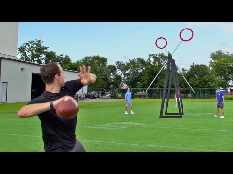 NFL Star Quarterback Drew Brees Performs Amazing Football Trick Shots With Dude