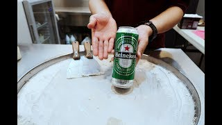 ICE CREAM ROLLS  Heineken Beer Ice Cream Anyone?  Mountain Dew and Pepsi Soda Ice CreamFor Entertainment purposes only. Not for kids.SUBSCRIBE us ❤️ for more Amazing Ice Cream Videos Stir-fried ice cream (Chinese: 炒雪糕), ice pan ice cream, rolled ice cream or ice cream rolls is a hand made ice cream dessert made with milk poured on an iced grill, mixed with fruit or different ingredients on the ice-pan. It is an East Asian method of ice cream production.