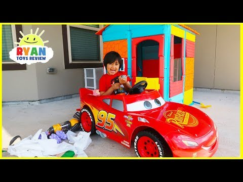 Ryan Pretend Play House with Lightning McQueen!!