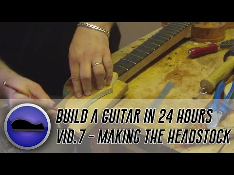 Video 7 - How to build a guitar | marking out and creating the headstock, plus a little veneering