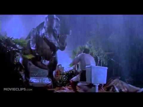 Jurassic Park; Tyrannosaurus Rex eats man on toilet (видео)