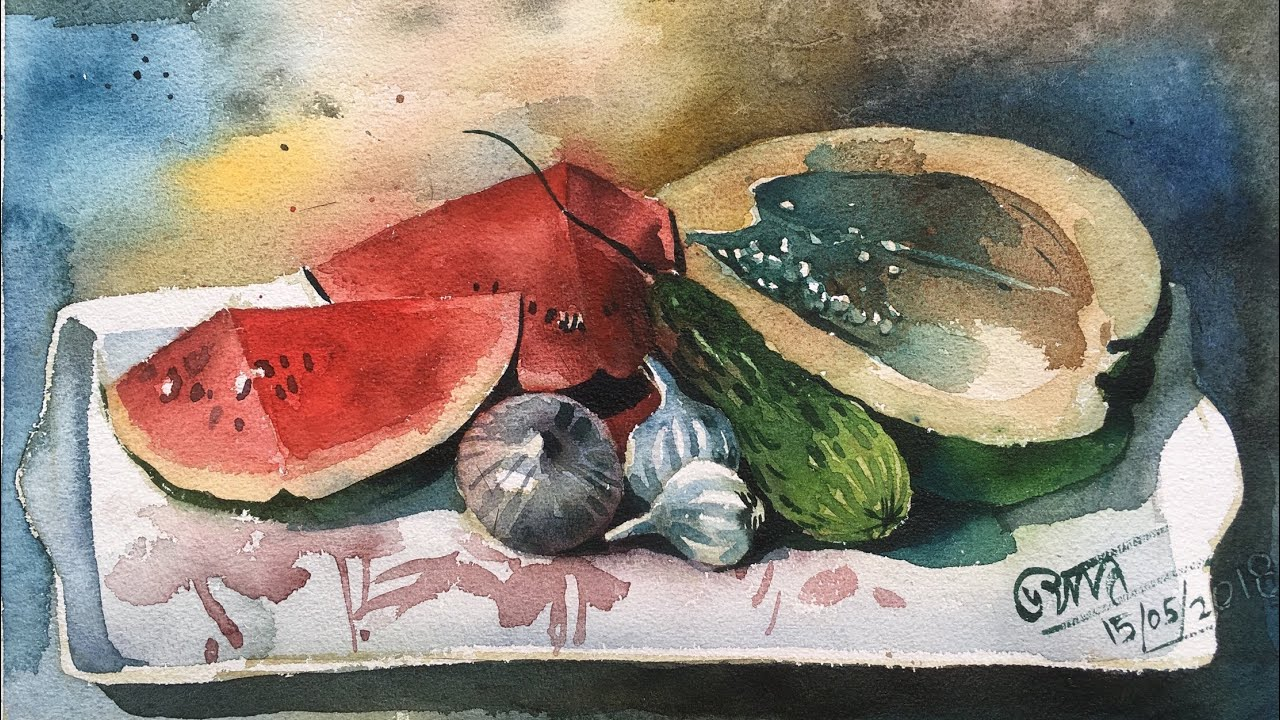 Watercolor still life painting tutorial step by step