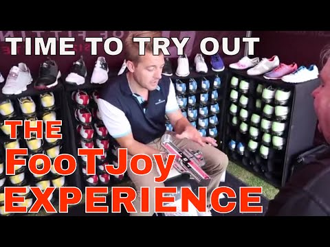 BIG OGGIE TRIES OUT THE FOOTJOY GOLF SHOE FITTING SERVICE. Get the right shoes for your golf game.