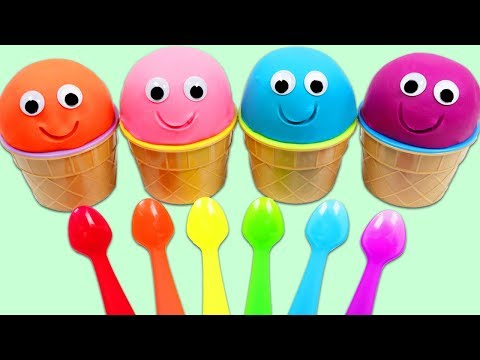 4 Colors Play Doh Ice Cream Surprise Cups Opening with Rainbow Spoons!