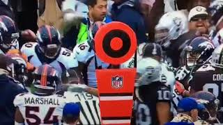 Raiders and Broncos fight no helmet on Crabtree savage
