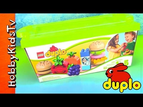 LEGO Duplo HUGE Cheeseburger Lunch! Milk, Grapes, Carrot, Pear, Ketchup [Box Open] [Toy Review]