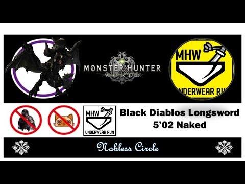 (MHW) Black Diablos LS naked 5'02 / 흑디아 맨몸 태도 노피격