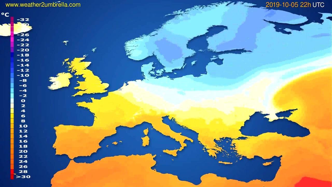 Temperature forecast Europe // modelrun: 00h UTC 2019-10-03