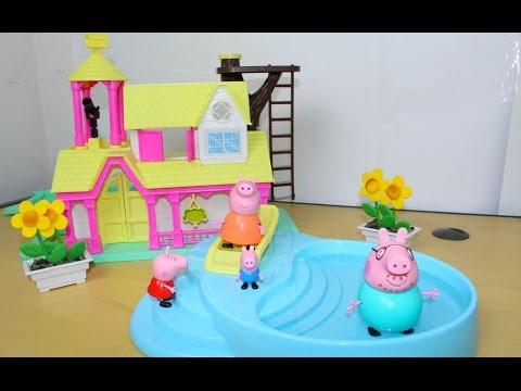 Imagens de feliz páscoa - Peppa Pig na piscina com George Pig e família aproveitando a casa nova!