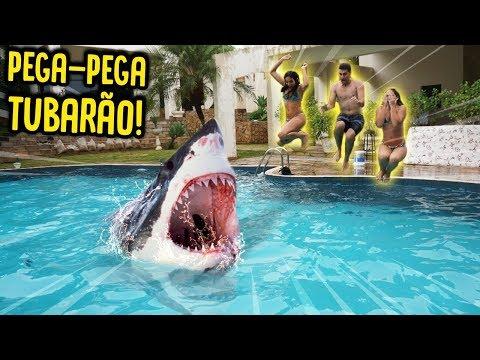 PEGA PEGA TUBARÃO NA PISCINA!! ( NOVA BRINCADEIRA ) [ REZENDE EVIL ]