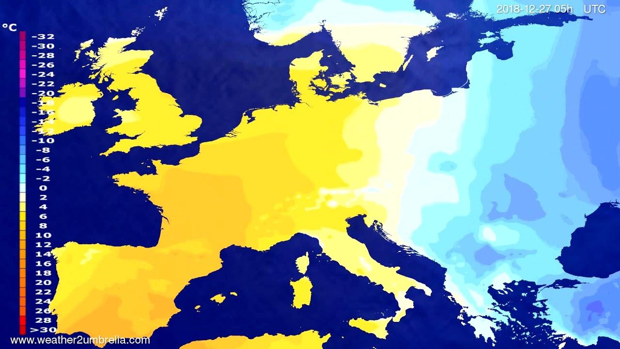 Temperature forecast Europe 2018-12-24