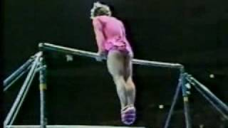 US gymnast Paul Hunt performs on uneven bars at the 1981 Nadia Tour at Madison Square Garden, NYC.