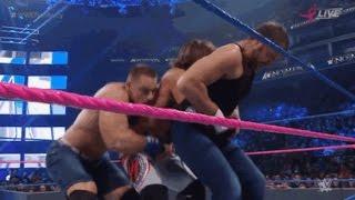 John Cena ''DOUBLE GERMAN SUPLEX'' on AJ Styles and Dean Ambrose - No Mercy 2016