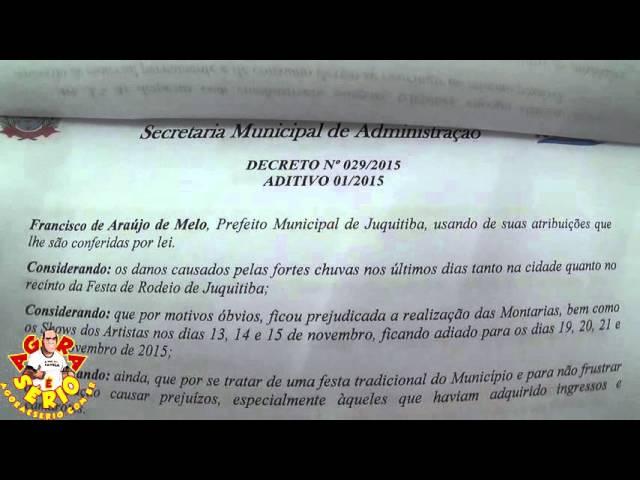 DECRETO 29/2015 - AUTORIZAÇÃO PARA A FESTA DE RODEIO